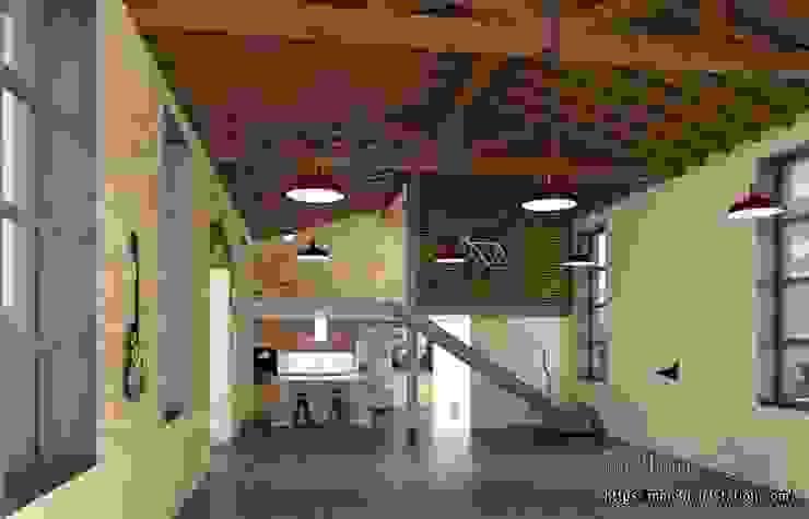 Kitchen and staircase Hoteles de estilo rústico de mm-3d Rústico