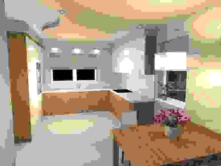 Projekt wnętrza salonu z kuchnią w Rudzie Śląskiej Nowoczesny salon od Ekskluzywne Wnętrze Nowoczesny