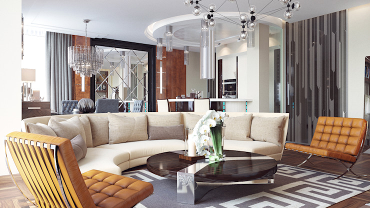 Eclectic style living room by Архитектурная мастерская Бориса Коломейченко Eclectic