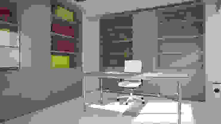 Proposta di arredamento e disposizione arredo per uffici - RENDERING 3D 2P COSTRUZIONI srl Complesso d'uffici moderni