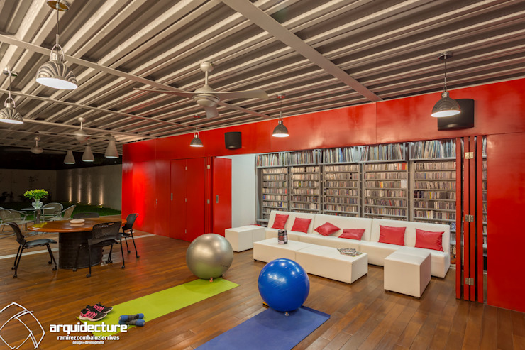 Industrial style gym by Grupo Arquidecture Industrial Wood Wood effect
