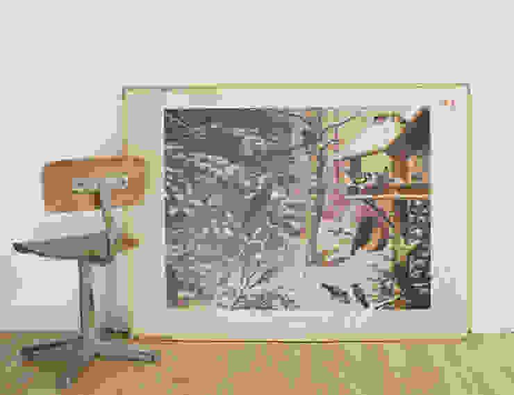 Vogels in de winter/vissen: Oude dubelzijdige schoolplaat van Koekkoek. Vintage/retro poster op karton van Flat sheep Rustiek & Brocante