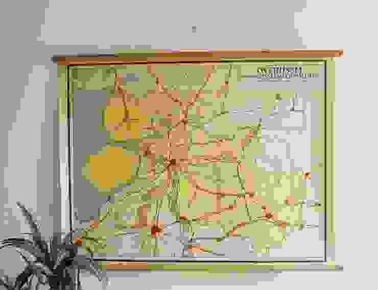 Vintage schoolplaat van Overijssel (Nederland). Oude retro landkaart van Flat sheep Rustiek & Brocante