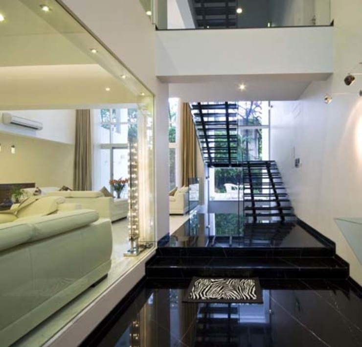 Private Residence at Sopan Baug, Pune Chaney Architects Minimalist corridor, hallway & stairs