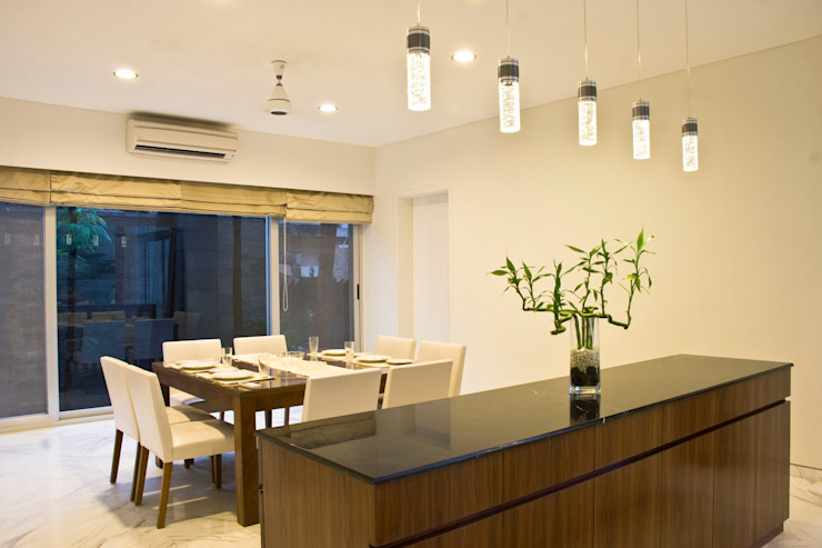 Private Residence at Sopan Baug, Pune Minimalist dining room by Chaney Architects Minimalist