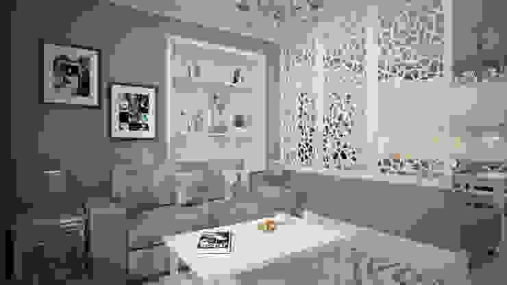 Строгий скандинавский стиль в двух комнатной квартиры в ЖК «Триколор» Гостиная в скандинавском стиле от дизайн-бюро ARTTUNDRA Скандинавский