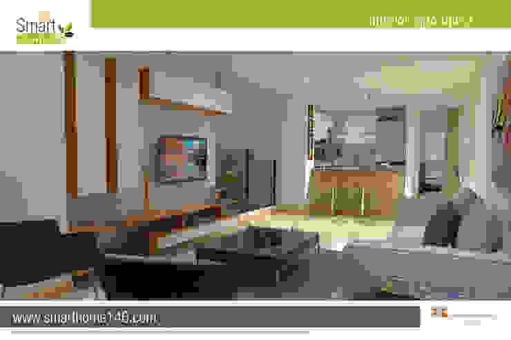 Zona Social y cocina tipo barra amaricana Salas modernas de AP Construcciones S.A. Moderno Derivados de madera Transparente