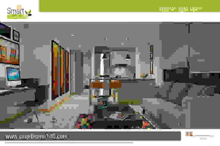 Salon comedor cocina Apto tipo 5 Salas modernas de AP Construcciones S.A. Moderno Derivados de madera Transparente