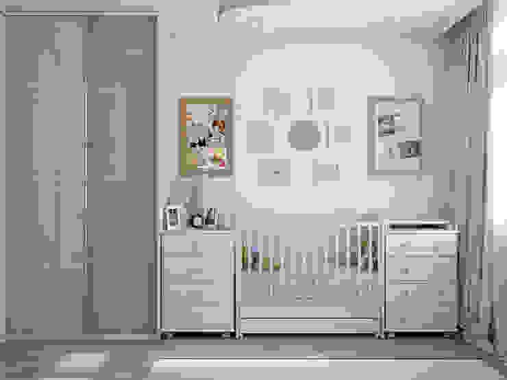 Tatiana Zaitseva Design Studio Quarto infantil minimalista Derivados de madeira Branco