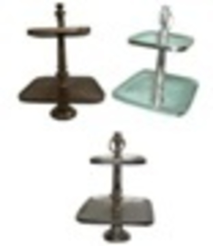 Aluminium 2 Tier Square Cake Stand: asian  by Alyth Creations,Asian