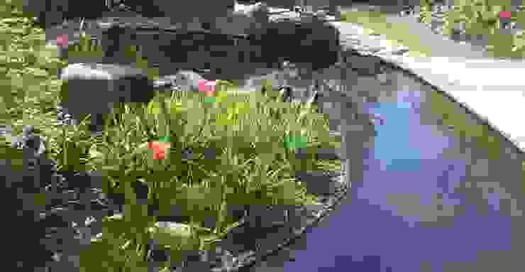 Bogenform des Wasserbeckens führt zu optischer Gartenvergrößerung dirlenbach - garten mit stil Skandinavischer Garten