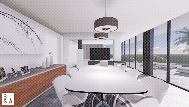 OA LM - Moradia V3 Salas de jantar minimalistas por 3.SA Minimalista Betão