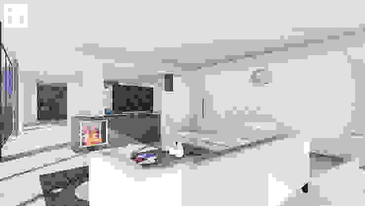 OA LM - Moradia V3 Salas de estar minimalistas por 3.SA Minimalista Betão