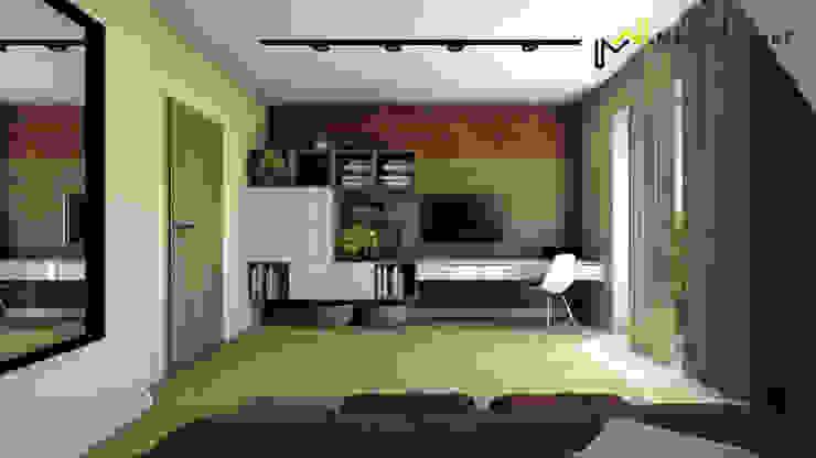 Sypialnia z cegłą od Marta Wanat Projektowanie Wnętrz