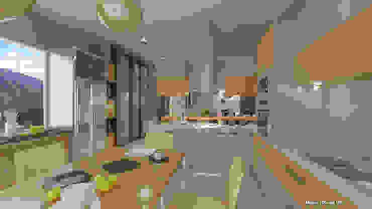 Renders Cocina de Arquitecto Manuel Daniel Vilte Minimalista Compuestos de madera y plástico