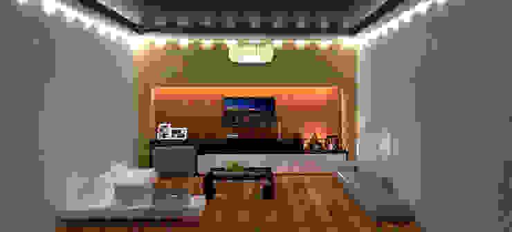 living room por @idearprojecao Eclético de madeira e plástico