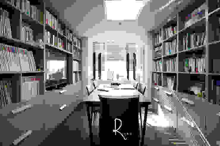 공사후: 로하디자인의  서재 & 사무실,모던