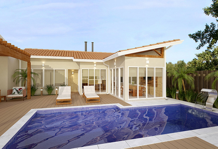 ラスティックスタイルの プール の Alessandra Duque Arquitetura & Interiores ラスティック