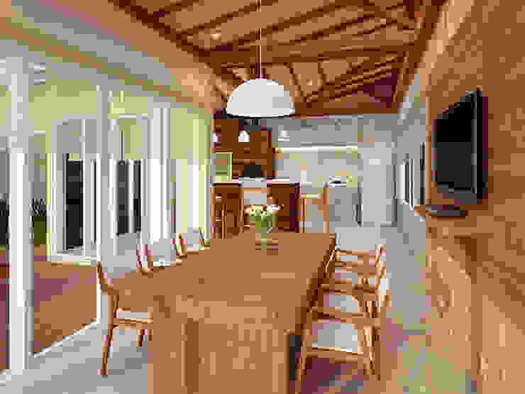 ラスティックデザインの テラス の Alessandra Duque Arquitetura & Interiores ラスティック