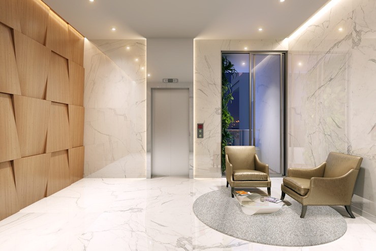 HYDE PARK TOWER, BIBBEWADI, PUNE Modern corridor, hallway & stairs by Chaney Architects Modern