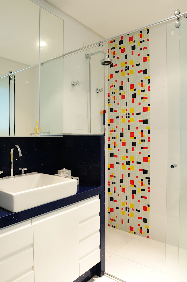 studio VIVADESIGN POR FLAVIA PORTELA ARQUITETURA + INTERIORES Modern bathroom Blue