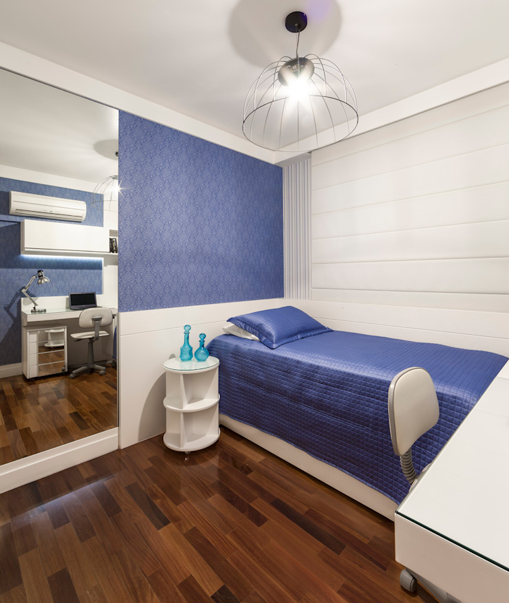 studio VIVADESIGN POR FLAVIA PORTELA ARQUITETURA + INTERIORES Modern style bedroom Blue