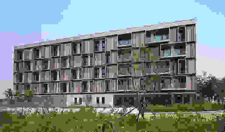Passive House Bruck Hotéis modernos por Peter Ruge Architekten Moderno