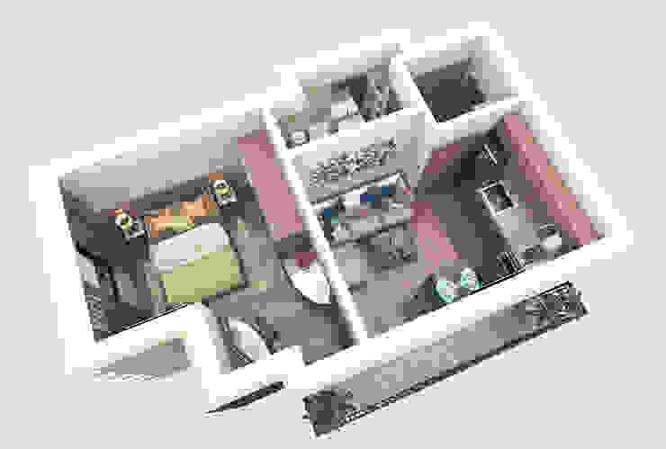 3d Floor Plans de Inspiria Interiors Moderno
