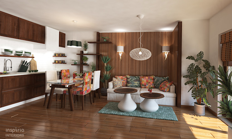 Country style Interior for an appartment kitchen and living room Inspiria Interiors ห้องนั่งเล่น