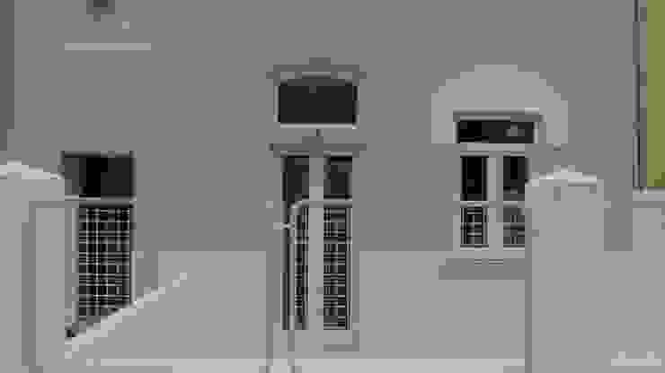 Alçado Principal - detalhe Casas modernas por QFProjectbuilding, Unipessoal Lda Moderno