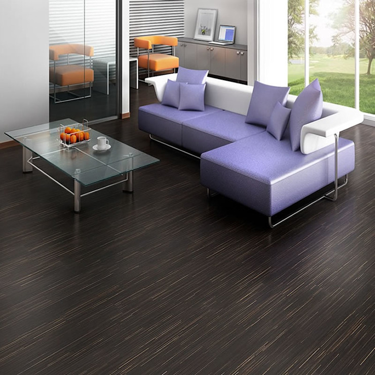 Salas de estar industriais por Euro-Parkett OHG Industrial Madeira Efeito de madeira