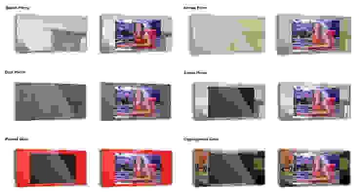 Tipos de vidro IllusionTV por Glassinnovation Illusion Magic MirrorTV Moderno