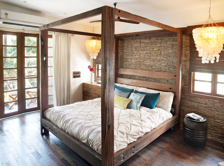 Residential - Juhu Rustic style bedroom by Nitido Interior design Rustic Solid Wood Multicolored