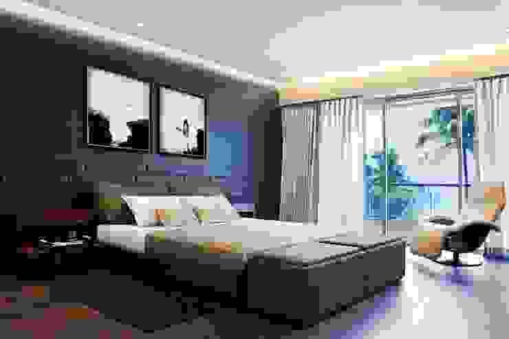 Residential - Juhu 2 Nitido Interior design Modern style bedroom Bricks Black