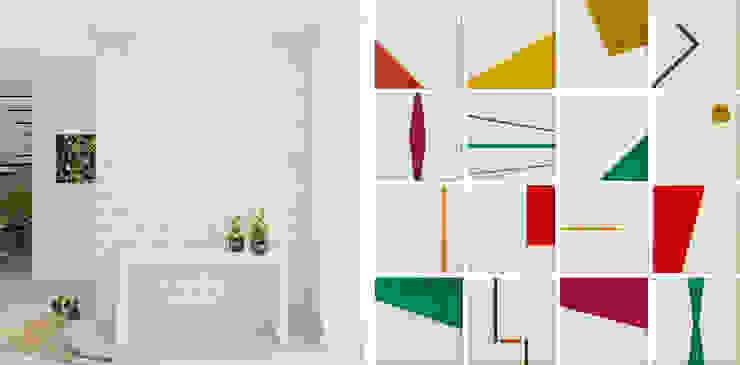 Imagem do painel de azulejos exclusivo desenhado pelo escritório Atelier 6 Arquitetura Salas de estar modernas Azulejo Multi colorido