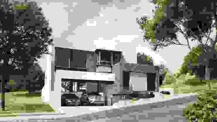 Fachada principal: Casas de estilo  por Diez y Nueve Grados Arquitectos, Minimalista