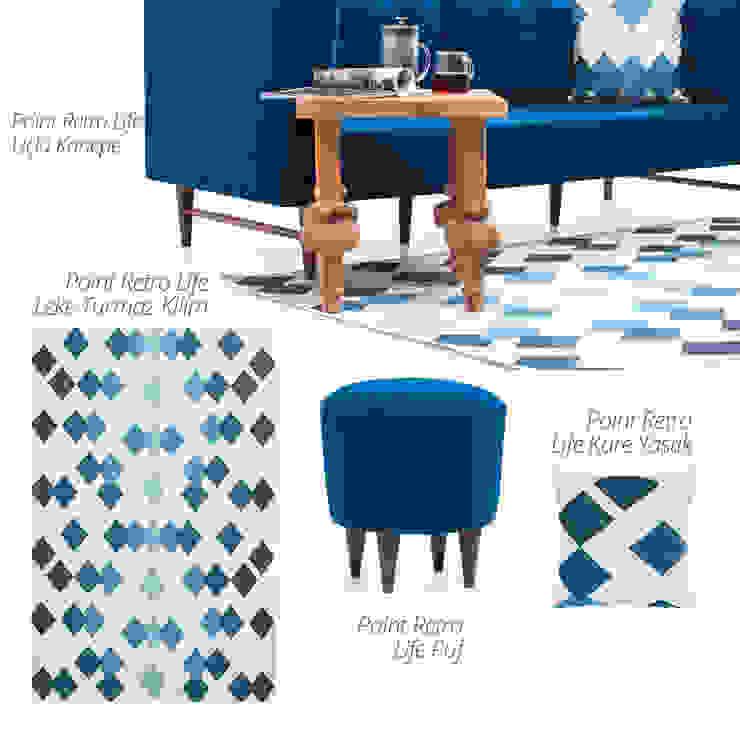 K105 Mobilya Pazarlama Danışmanlık San.İç ve Dış Tic.LTD.ŞTİ. – Point Retro Life Saks Mavisi Üçlü Kanepe: modern tarz , Modern Ahşap Ahşap rengi