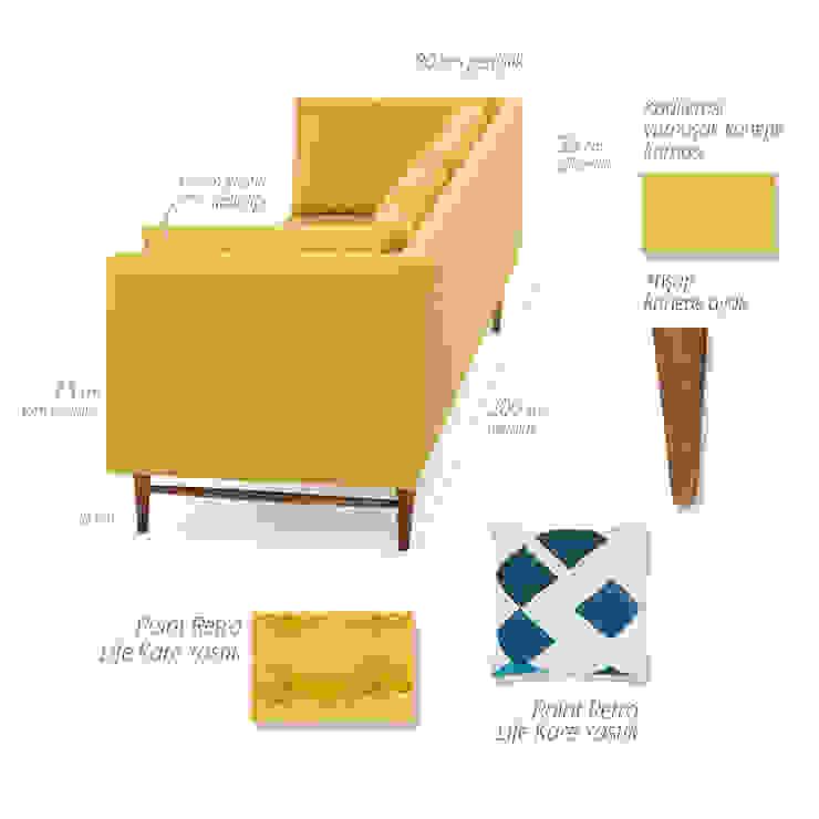 K105 Mobilya Pazarlama Danışmanlık San.İç ve Dış Tic.LTD.ŞTİ. – Point Retro Life Sarı Üçlü Kanepe: modern tarz , Modern Ahşap Ahşap rengi