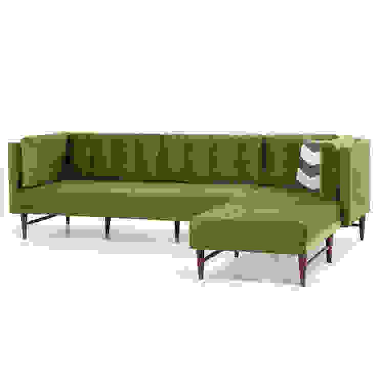 K105 Mobilya Pazarlama Danışmanlık San.İç ve Dış Tic.LTD.ŞTİ. – Point Retro Life Yeşil Köşe Kanepe: modern tarz , Modern Ahşap Ahşap rengi