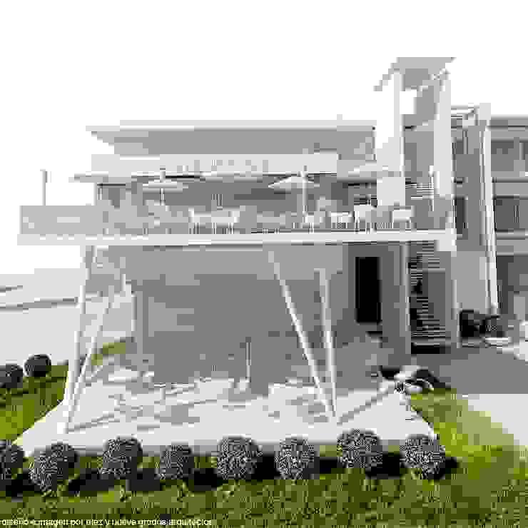 Terraza y patio techado de Diez y Nueve Grados Arquitectos