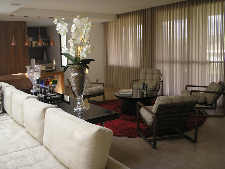 Residência Village Terrasse- Carmo Salas de estar modernas por Monica Guerra Arquitetura e Interiores Moderno