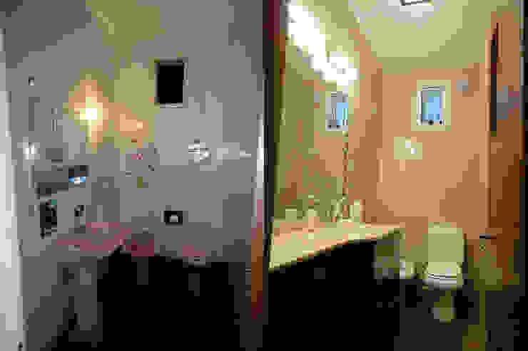 Antes y Despuès - baños apareados Baños modernos de D&D Arquitectura Moderno