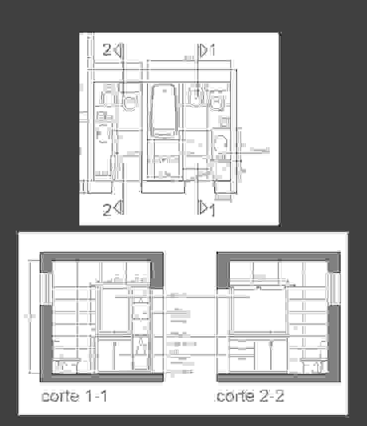 Planta - baños apareados Baños modernos de D&D Arquitectura Moderno