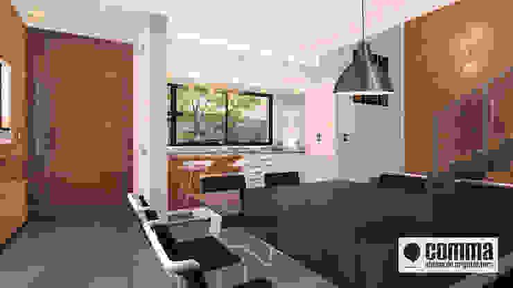 Modern living room by Comma - Oficina de arquitectura Modern Bricks