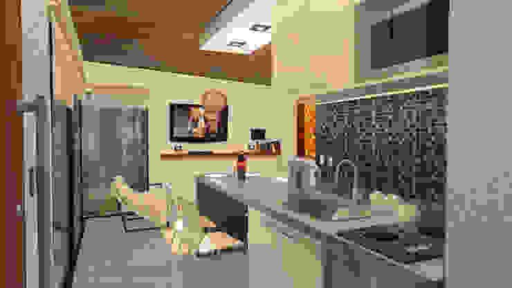 Cabaña <q>V</q> Livings modernos: Ideas, imágenes y decoración de Comma - Oficina de arquitectura Moderno Ladrillos