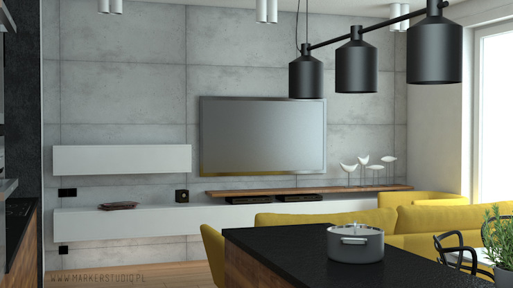 MArker Salas de estilo moderno Concreto Amarillo