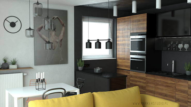 MArker Modern kitchen Stone Black