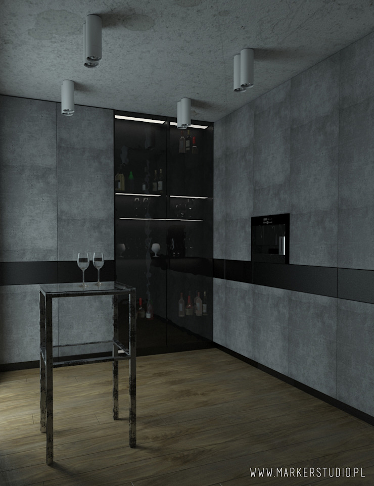 MArker Cocinas de estilo industrial Concreto Gris