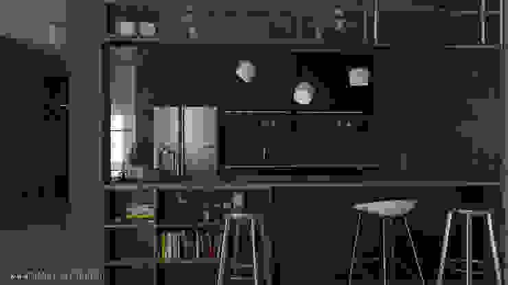 MArker Cocinas de estilo industrial Concreto Negro