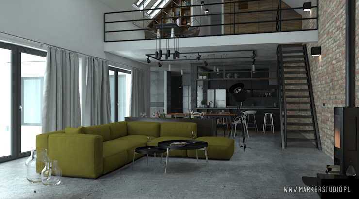 MArker Industrial style living room